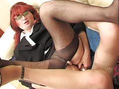 Redhead feminized male chap with his homosexual co-worker getting the just about all from dildotoying